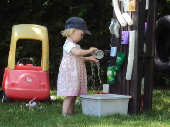 How to Make a Water Wall for Toddlers and Preschoolers Outdoor Play Space