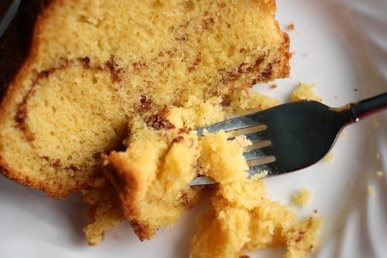 coffee cake with cinnamon and brown sugar swirled through