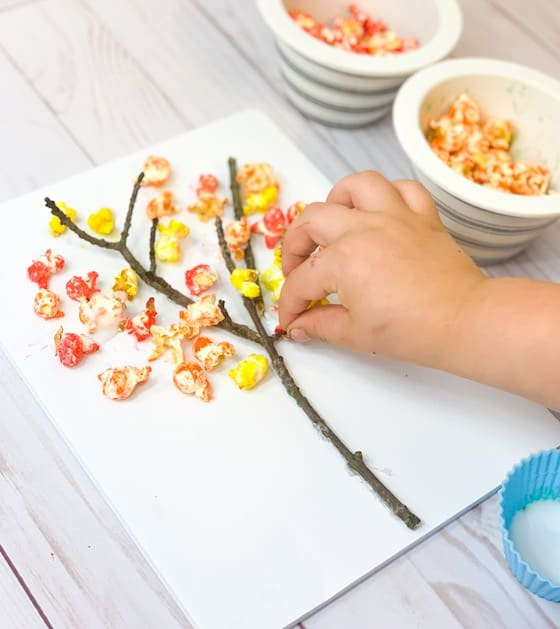 Twig and coloured popcorn