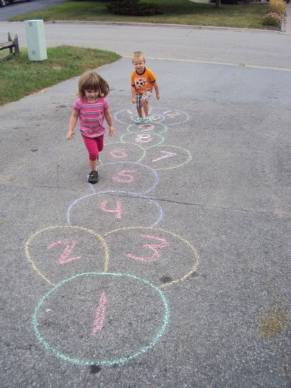 Easy way to make a chalk hopscotch