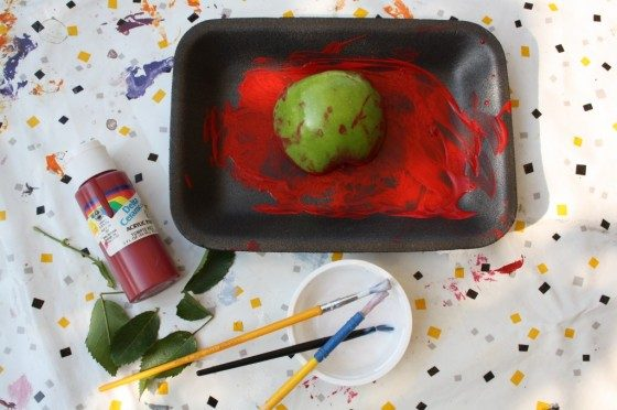 apple in red paint