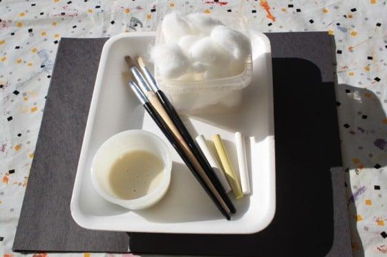 cotton balls, paint brushes, glue, chalk