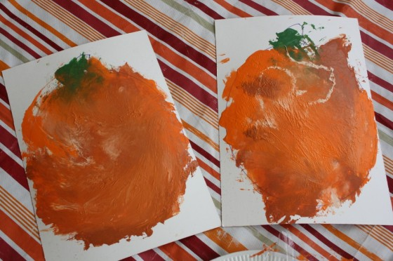 pumpkin art created by toddlers