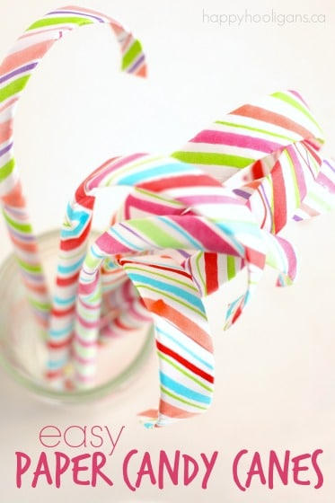 top down shot striped paper candy canes in jar