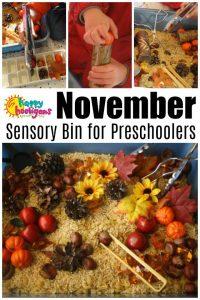 November Sensory Bin for Preschoolers