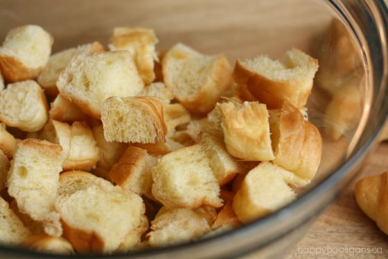 stale bread cubed to make homemade croutons