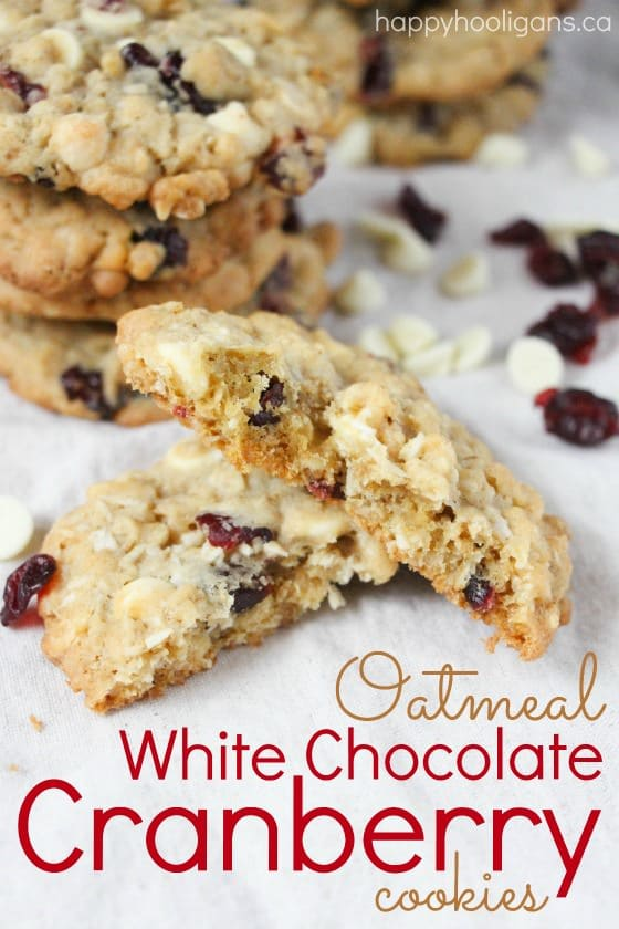 Oatmeal White Chocolate Chip Cranberry Cookies - a classy cookie for the holidays or any day. Makes a great gift for teachers, friends and neighbours - Happy Hooligans