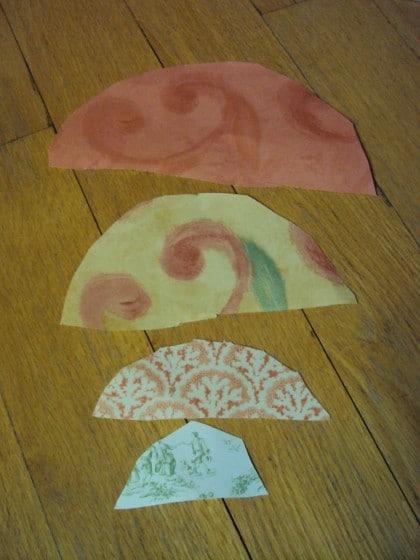 cutting semi circles to make paper cones