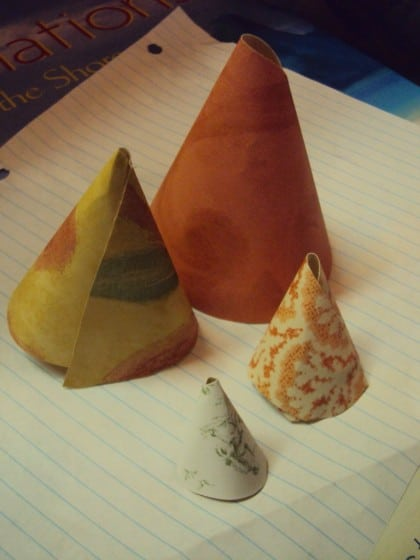 paper cones made from wallpaper samples