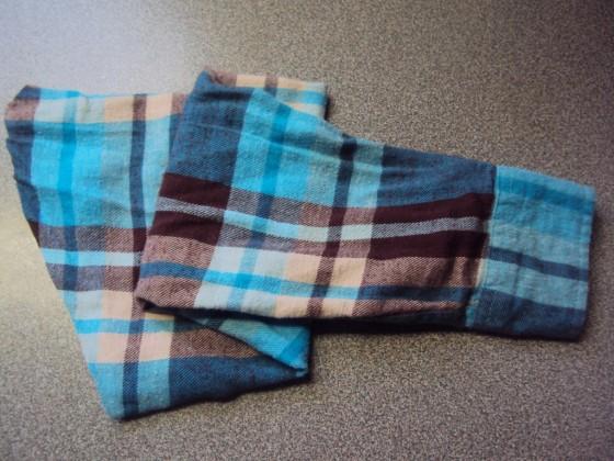 blue plaid shirt sleeve