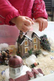 christmas village construction bin