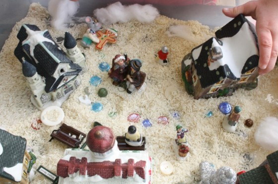 Christmas Village Sensory Bin for toddlers and preschoolers