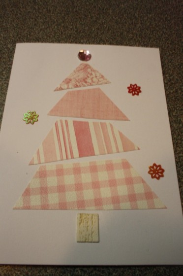 homemade christmas card - christmas tree with pink wallpaper samples