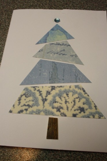 christmas tree card with blue wallpaper samples