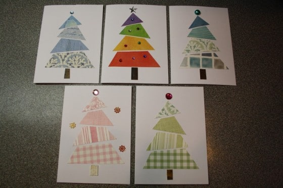 various christmas tree cards made from wallpaper samples