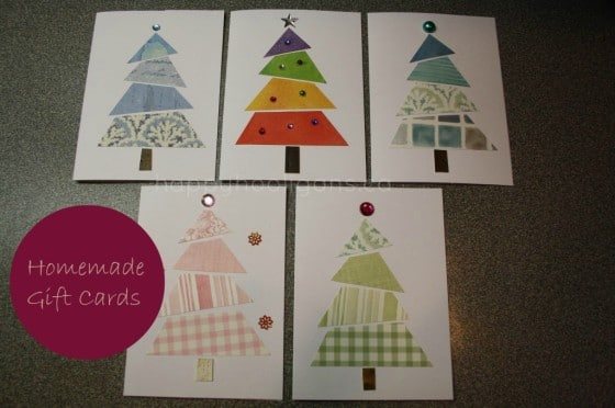 homemade cards made with fabric scraps and wallpaper samples