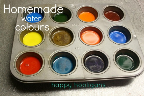 homemade water colour paints with baking soda and corn syrup