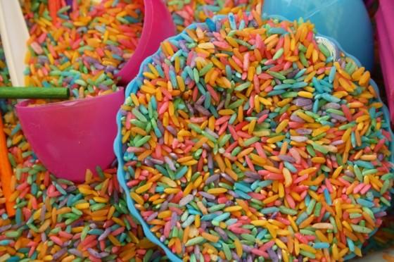 colourful rice sensory bin