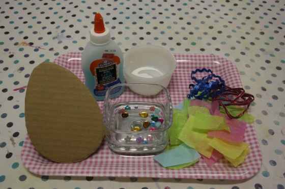 glue - cardboard egg - tissue paper-craft scraps