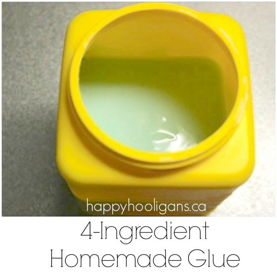 homemade glue tinted blue in yellow container