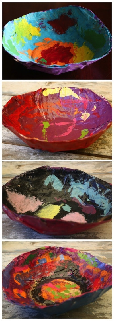 4 painted paper mache bowls made by kids