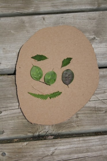 face made of leaves on cardboard
