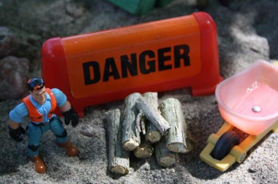 """Toy """"danger"""" sign"""