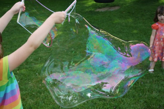 huge bubble made with homemade bubbles solution
