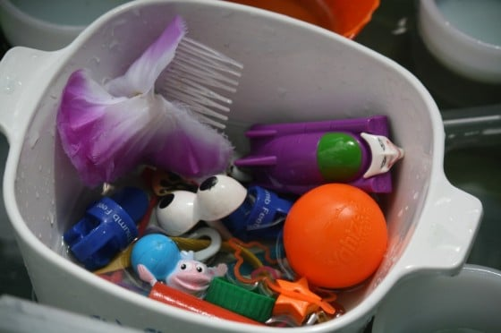 Bowl of small toys and trinkets