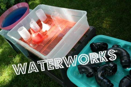 waterworks science activities with coloured water, funnels and pvc pipes