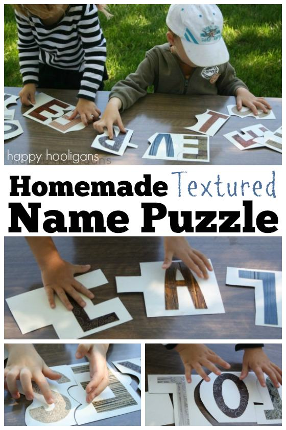 Homemade Name Puzzles for Toddlers and preschoolers