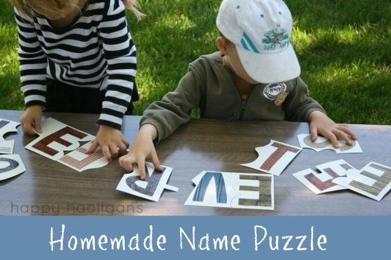 Preschoolers doing Homemade Name Puzzle with wallpaper samples