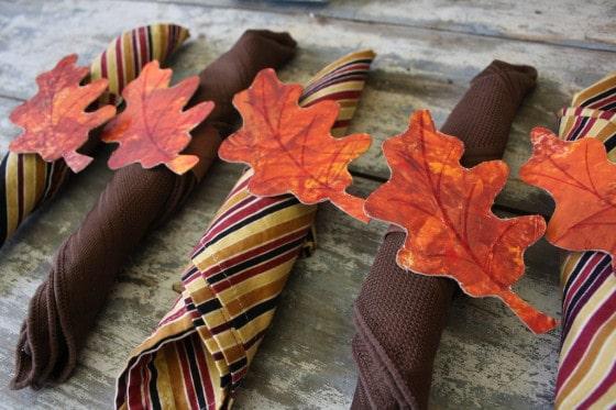 Set of homemade Thanksgiving napkin rings