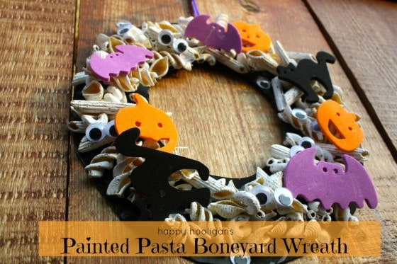 Painted Pasta Boneyard Halloween Wreath for Kids to Make for Halloween