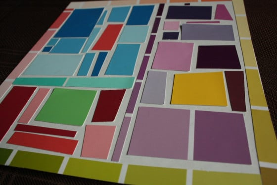 beginner mosaic art project with paint chip samples