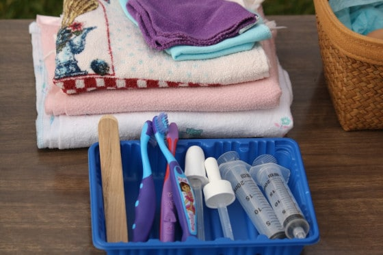 small towels and facecloths, syringes, tongue depressors, toothbrushes and droppers