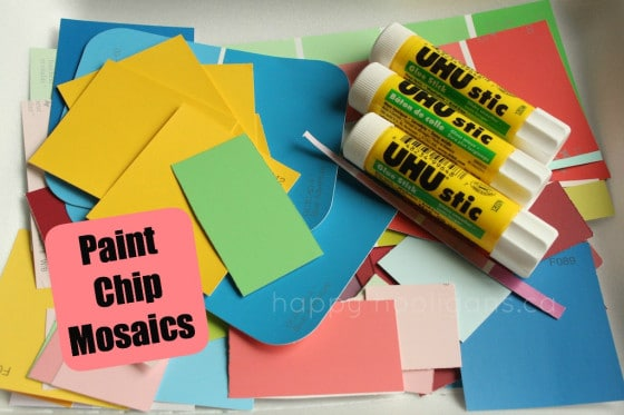 paint chip samples, glue sticks