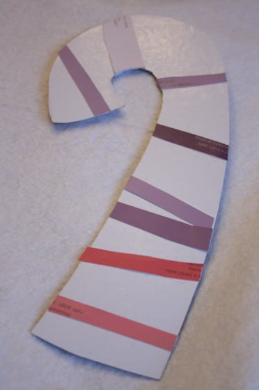candy cane with pink and purple paint chip samples