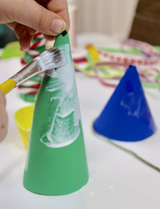 kid glue paper cone tree