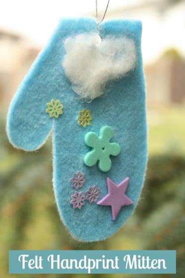 felt handprint mitten ornament