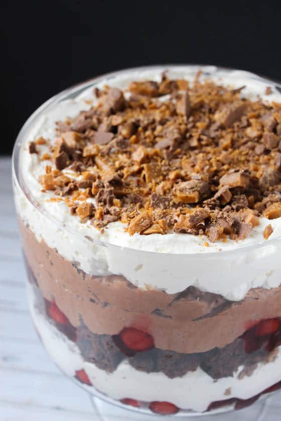 Chocolate cherry trifle with Skor bar topping