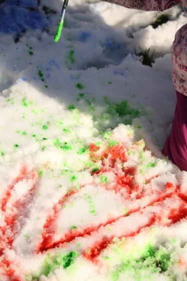 splatter painting on the snow