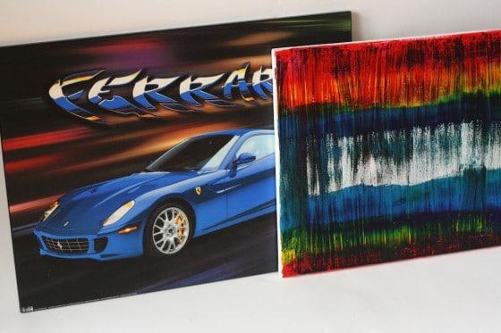 thrift shop canvas art - ferrari and abstract