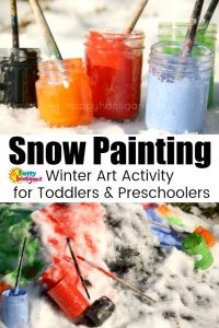 Painting the Snow - Outdoor Winter Art Activity for Kids