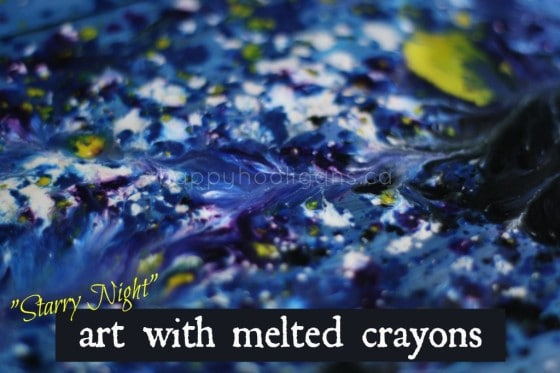 Melted Crayon Art Starry Night Project for Kids