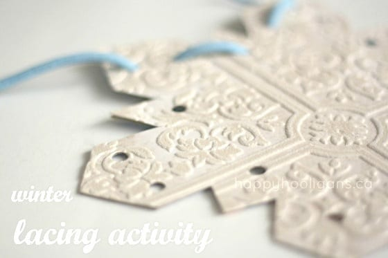 homemade snowflake lacing card