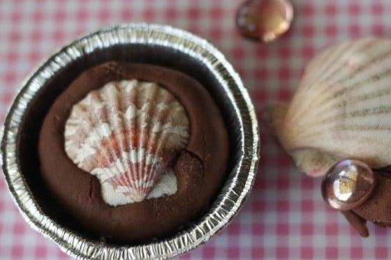 seashells in chocolate and strawberry playdough