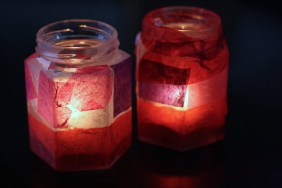Valentine's Votives in the dark illuminated with candle