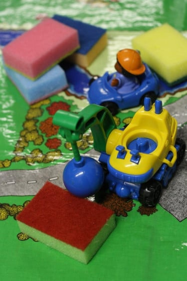 sponges used for play - pretend construction site