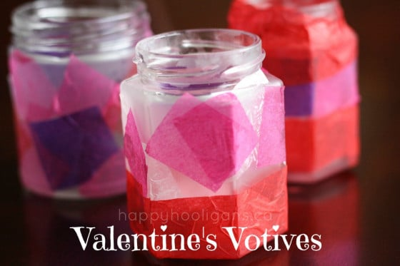 Valentine's Votives - candle holders for kids to make for Valentine's Day - Happy Hooligans